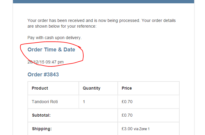 Add Order Date and Time to Notification email Woocommerce